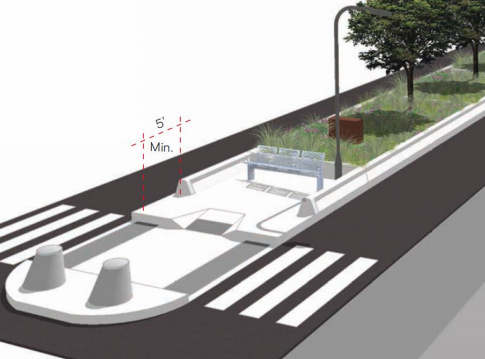 New medians proposed for Atlantic Avenue. (Courtesy NYC DOT)