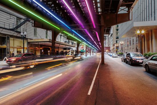 Wabash Lights, a site-specific installation under Chicago's L. (Courtesy Wabash Lights)