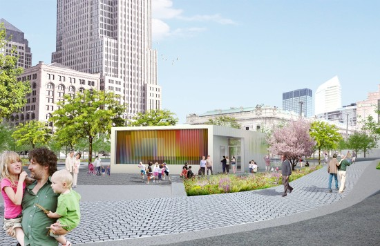 Rendering of a new cafe pavilion for Cleveland's Public Square. (nARCHITECTS via James Corner Field Operations)