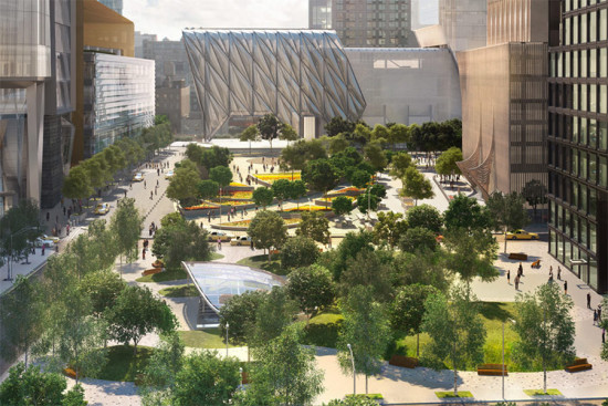 The 7 train station and green space with the Public Square behind it. (Courtesy Related and Oxford)