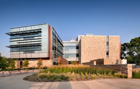 The opaque portions of the envelope are clad in sandstone backed by spray foam insulation. (Courtesy Hord Coplan Macht)