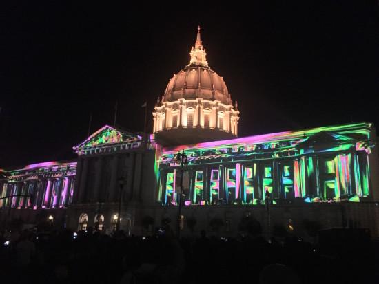 San Francisco City Hall lit up for a June Centennial light show. (Flickr albedo20)