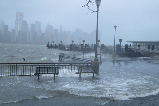 Exchange Place during Hurricane Sandy. (Flickr / wallyg)