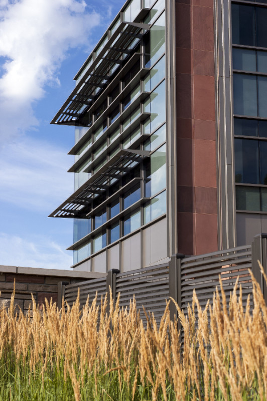 Integrated sunshades counter the potential for solar gain. (Courtesy Hord Coplan Macht)
