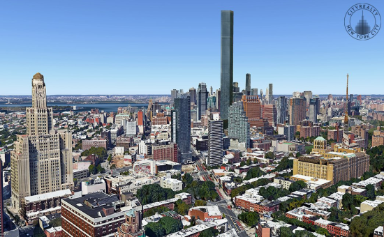 A mock-up of the potential mass of the building by  City Realty.