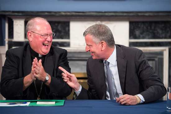 Mayor Bill de Blasio hosts a meeting with Cardinal Timothy Dolan. (Demetrius Freeman/Mayoral Photography Office)