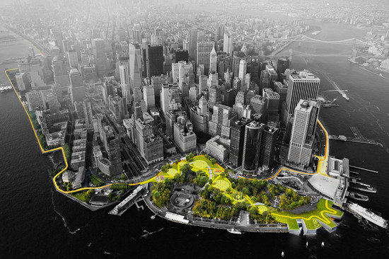 """BIG U"" PROPOSED PATH AROUND LOWER MANHATTAN (COURTESY BIG)"
