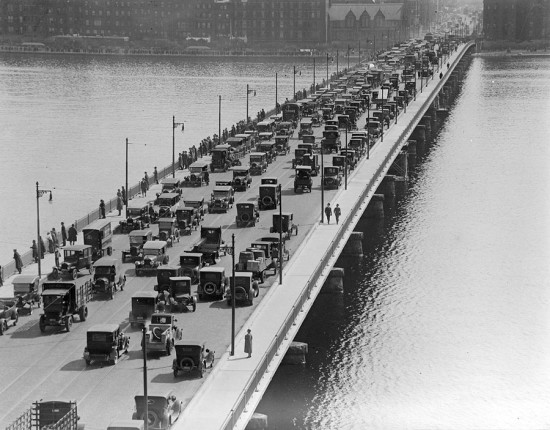 Congestion has always been an issue in Boston: traffic on the Harvard Bridge, 1923 (Courtesy Boston Public Library)