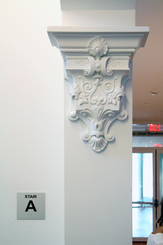 This original peice of ornamentation was taken away and replicated in plaster. (Courtesy Jason Sayer / AN)