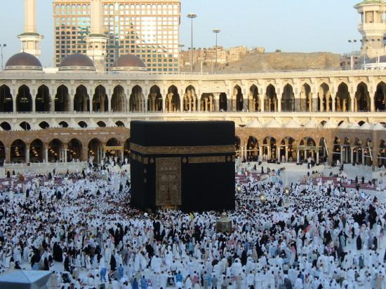 The Ka'aba at the center of Islam's most sacred mosque, Al-Masjid al-Haram, in Mecca, Saudi Arabia. (Courtesy Amr Zakarya via Wikipedia)