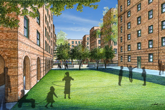 Marshall Field Garden Apartments, a major affordable housing rehab project currently underway in Chicago. (Related Midwest)