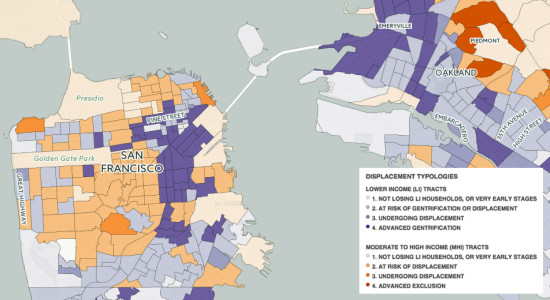 Map of San Francisco and Oakland created by the Urban Displacement Project. (Courtesy TKTK)