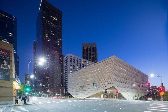 The Broad Museum at dusk (image courtesy Iwan Baan)