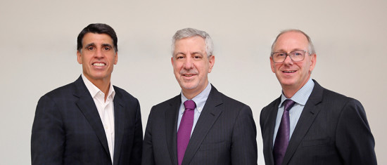 The merger of Weidlinger Associates and Thornton Tomasetti has been completed. Pictured are (from left) Tom Scarangello, chairman & CEO, and Ray Daddazio and Bob DeScenza, co-presidents. Photo by Bess Adler.