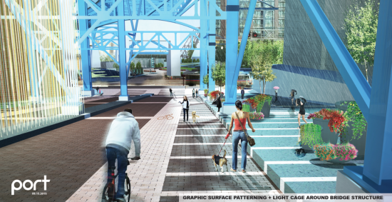 Renderings of a plan to remake the Main Avenue Bridge underpass in Cleveland. (PORT)