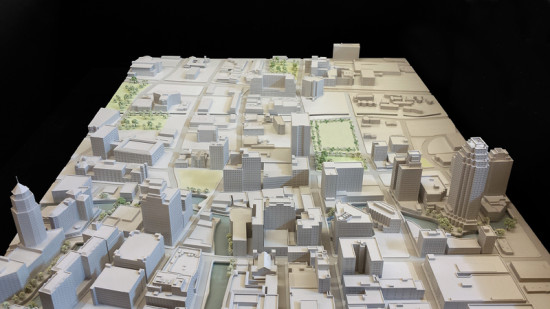 This hand-crafted paper model of San Antonio had several tower options for the new Frost Bank.