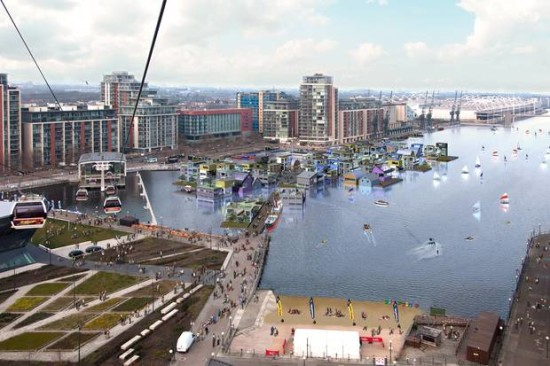 """dRMM Architects floating """"waterhoods"""" along the Thames River to help solve London's housing crisis. (Courtesy dRMM)"""
