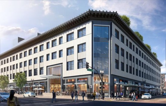 Revamped Sears building with facades on both Broadway and Telegraph Avenue. (Steelblue)