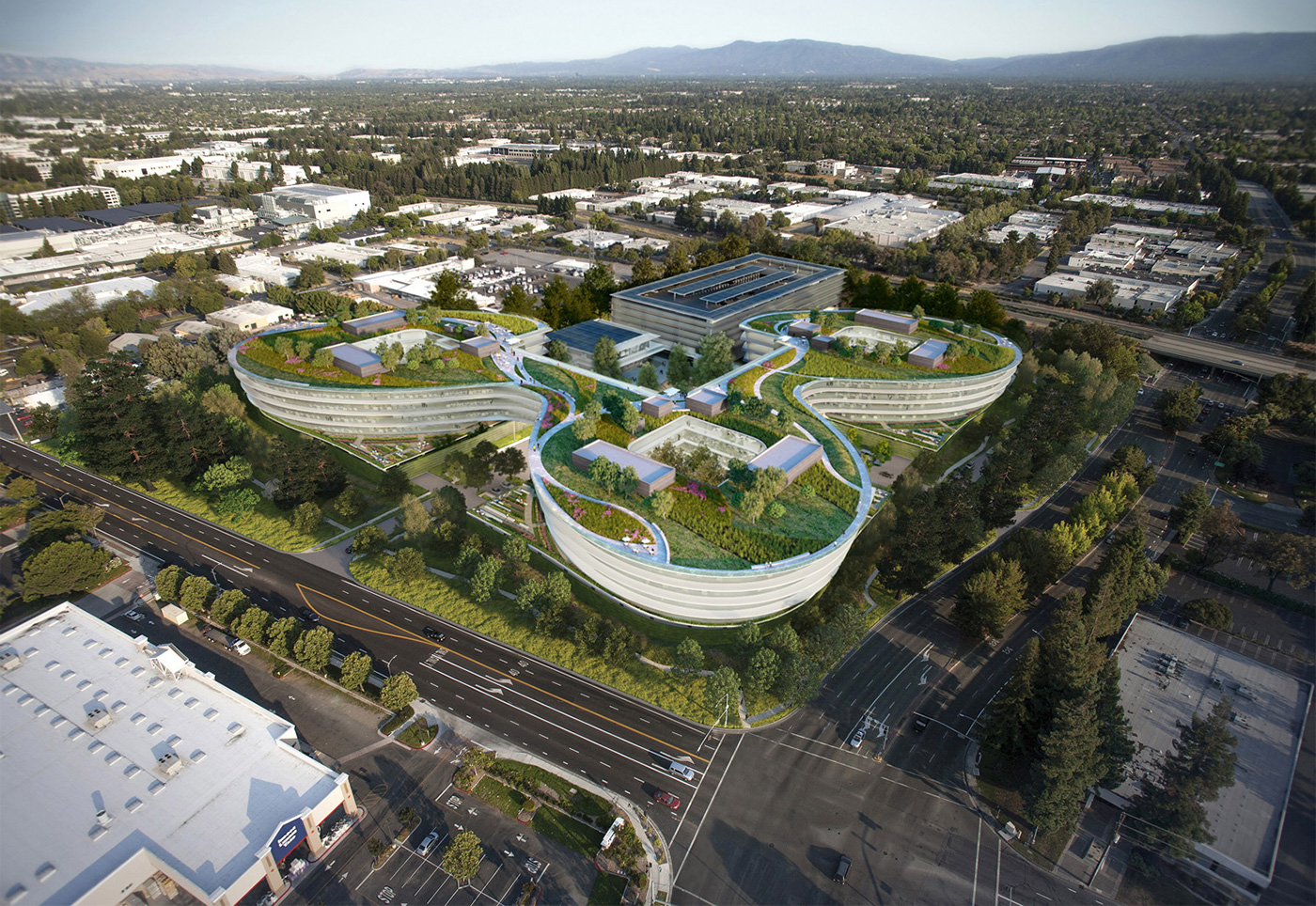 apple office design. Apple To Lease Curvy Office Building By HOK. (Courtesy HOK And Landbank) Design