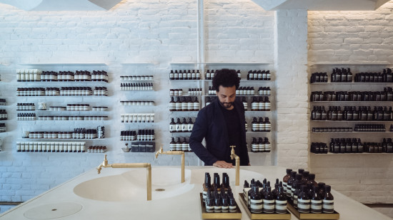 Peter Girgis of Snøhetta was inspired by the roofs Eastern Orthodox churches when crafting the Aesop store in Oslo. (Courtesy Aesop)