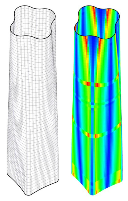 Panel warpage analysis for a tower in China, showing where the most curved panels occur on the facade. (Courtesy Neil Katz)