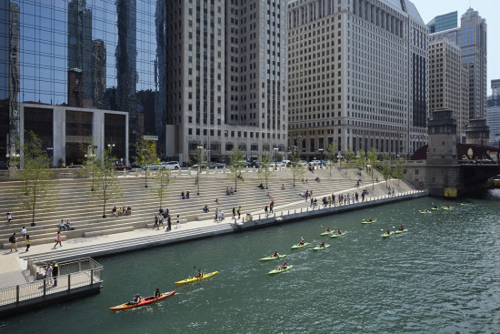 View of the new Riverwalk Extension on the south bank of the Chicago River. Photo Credit - Kate Joyce Studios