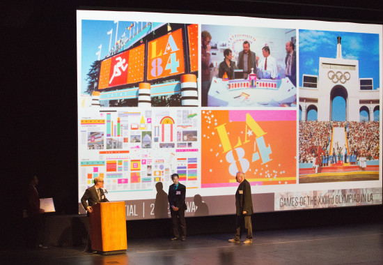 Paul Senzaki of The Jerde Partnership and Paul Prejza of Sussman/Prejza accept the 2015 AIA|LA Presidential Honoree 25-Year-Award presented to the Games of the XXIIIrd Olympiad from AIA|LA President Ted Hyman. (David Lena Photography)