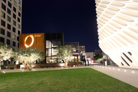 A wood clad Otium restaurant in the shadow of The Broad. (Michelle Park)