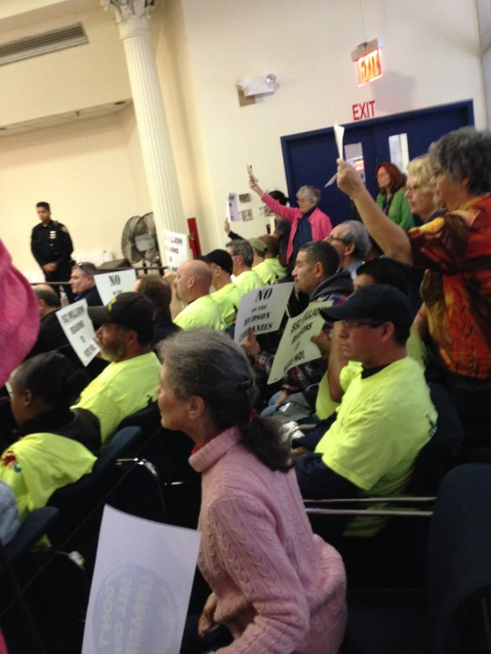 Members of Citizens Defending Libraries protesting at today's City Planning Commission meeting (Audrey Wachs / AN)