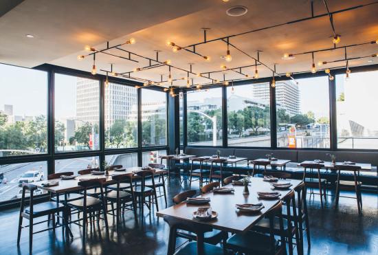 Otium's dining room looks west over Hope Street. (Michelle Park)