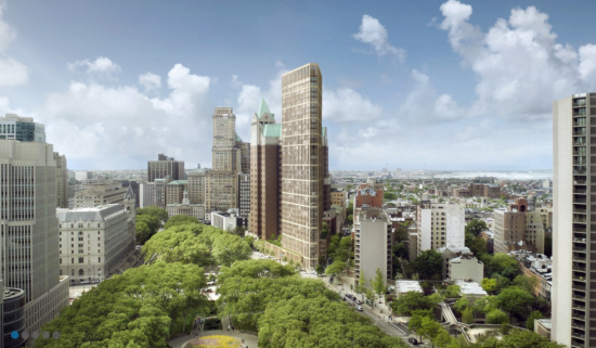 Renderings of tower on the site of the current library (courtesy Marvel Architects)