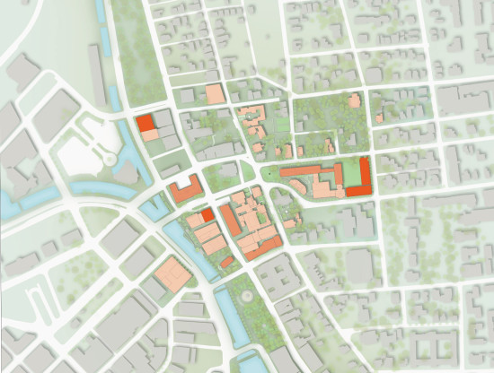 From the campus master plan: new buildings in red, renovated buildings in orange. (RISD)