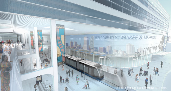 The Milwaukee Streetcar will eventually have a station in the proposed Couture tower by Rinka Chung (Courtesy Rinka Chung)