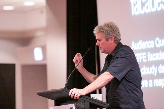 John Ronan addresses the Chicago Facades+ Conference in his key note address. (Chelsea Ross)