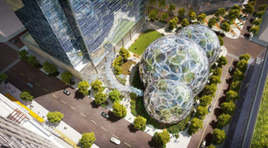 A rendering of the planned Amazon spheres at 2101 7th Ave, in South Lake Union, Seattle. (NBBJ/Amazon via Seattle.gov)