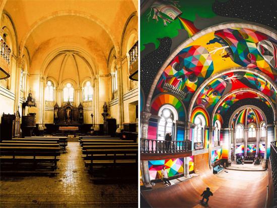 Santa Barbara Church, before and after (Courtesy Red Bull Media)