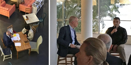 A few minutes of preparation, left. Hans Ulrich Obrist interviews Larry Bell, right.