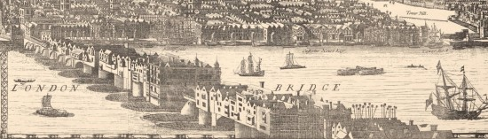 Drawing of London Bridge from a 1682 panorama, with the spiked heads clearly on view (Courtesy Wikipedia)