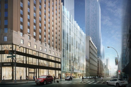 217 West 57th Street's south facade, facing east. (Courtesy Nordstrom)