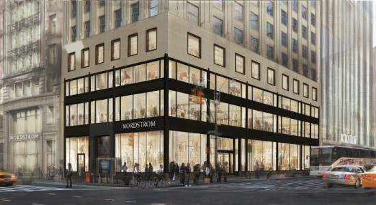 As the rendering of Nordstrom's entrance on West 57th and Broadway shows, the store will extend from 217 West 57th Street into neighboring buildings. (Courtesy Nordstrom)