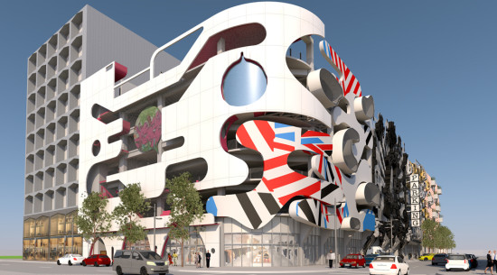 Garage Facade six design firms team up for this crazy parking garage facade in
