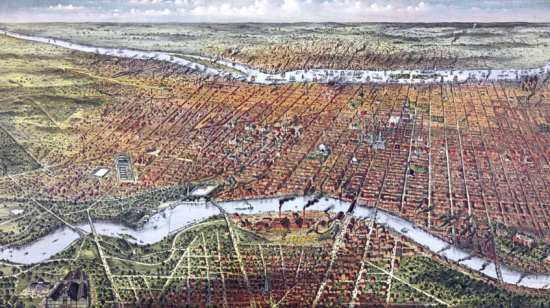 Bird's-eye view of Philadelphia, 1875, Currier & Ives (Courtesy TCLF)