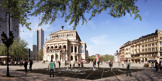The Arte Oper in Frankfurt with Daniel Libeskind's Musical Labyrinth on Cosentino's Dekton tile as a welcoming pavilion to guests. (Courtesy Cosentino)