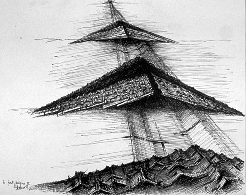 A drawing by Claude Parent of his Bridge Cities project, with Paul Virilio. (Ben Lepley / Flickr)