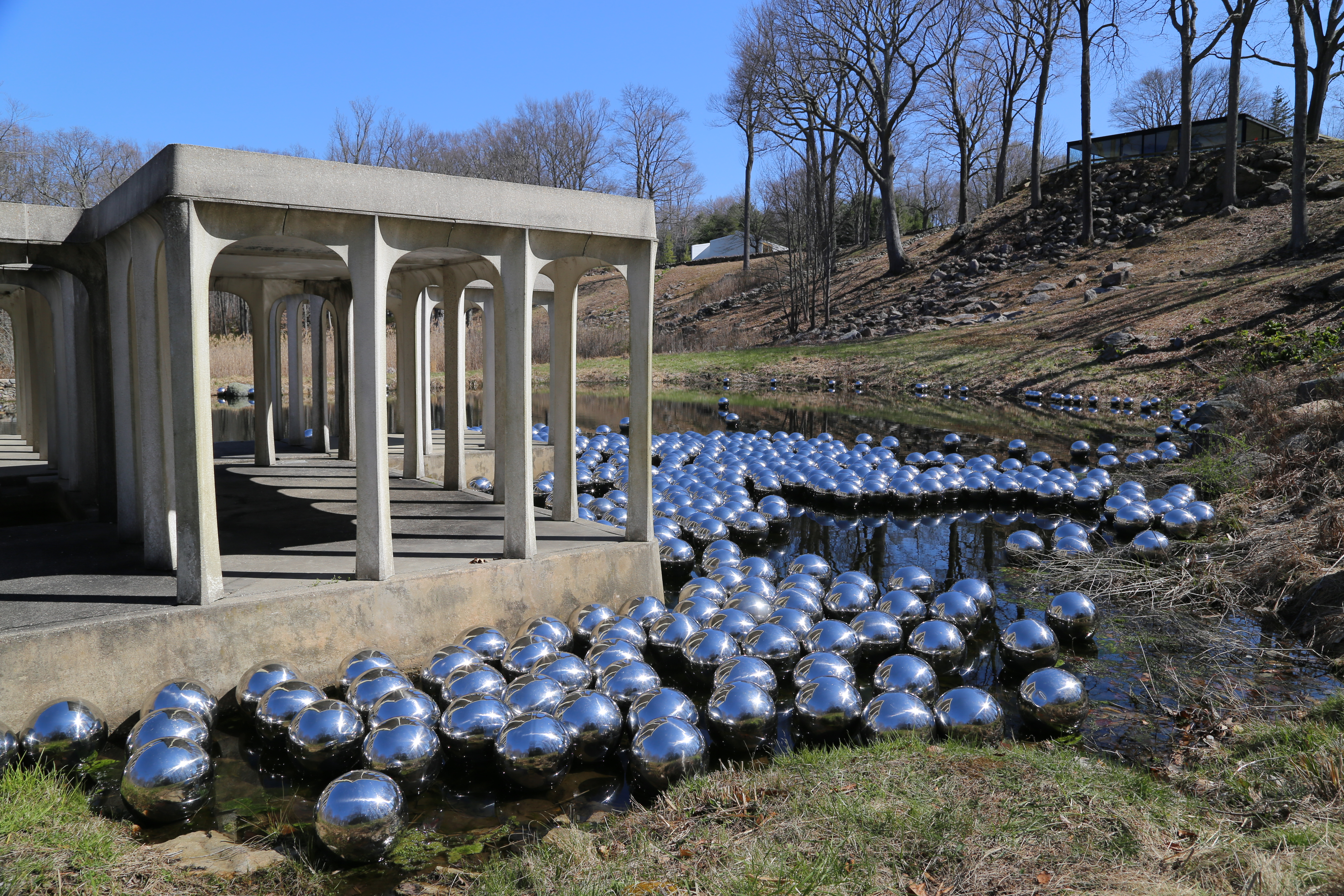 yayoi kusama's narcissus garden at the glass house - archpaper