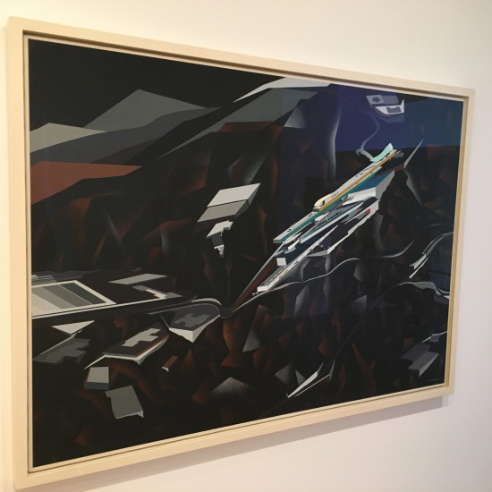 Zaha Hadid, The Peak,, Hong Kong. Project, 1991. Exterior Perspective. Synthetic polymer on paper mounted on canvas. David Rockefeller, Jr., Fund, 1992. (AN)