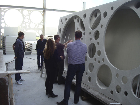CRC panel installation, courtesy C. F. Møller Architects