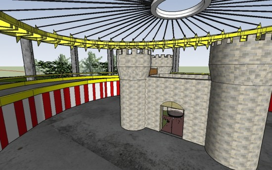 """The trampoline castle submissions is: """"A castle with a couple of trampolines inside."""""""