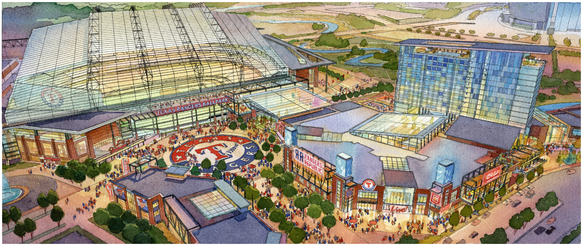An Artistâ S Rendering Shows A Vision Of The Proposed New Rangers Ballpark