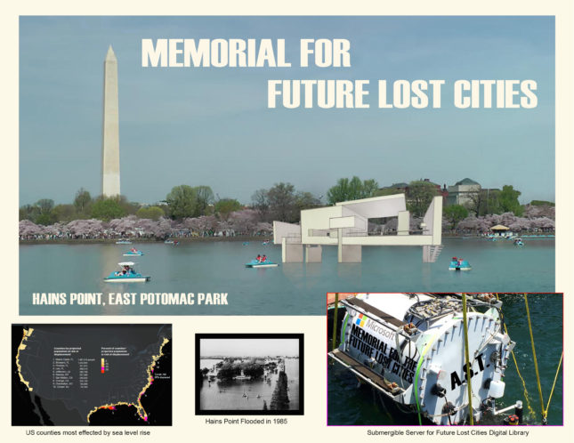 Memorials for the Future Lost Cities brings awareness to the problem of the rising sea level and its consequences (Courtesy of the National Parks Service)